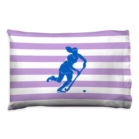 Field Hockey Pillowcase - Stripes With Silhouette