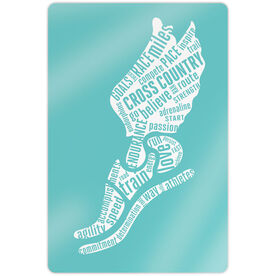 """Cross Country 18"""" X 12"""" Aluminum Room Sign - Inspirational Words Winged Foot"""