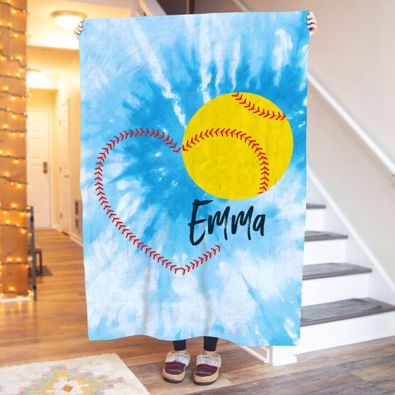 Softball Premium Blanket - Heart with Personalization Tie-Dye