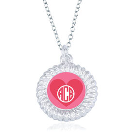Personalized Braided Circle Necklace - Monogrammed Heart