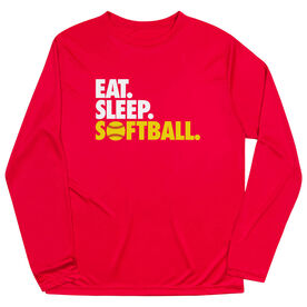 Softball Long Sleeve Performance Tee - Eat. Sleep. Softball.