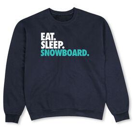 Snowboarding Crew Neck Sweatshirt - Eat Sleep Snowboard