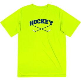 Hockey Short Sleeve Performance Tee - Hockey Crossed Sticks Logo