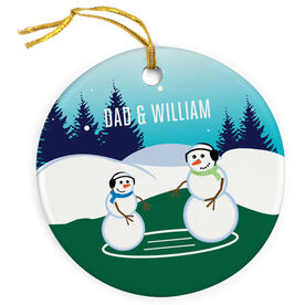 Wrestling Porcelain Ornament Snowman Father and Child