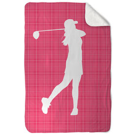 Golf Sherpa Fleece Blanket Female Swing Plaid Pattern