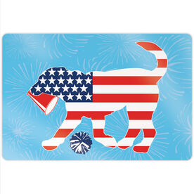 "Cheerleading 18"" X 12"" Aluminum Room Sign - Patriotic Coco The Cheer Dog"