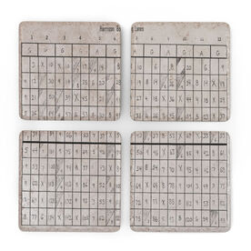 Personalized Stone Coasters Set of Four - Bowling Score Card