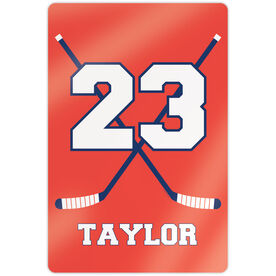 "Hockey 18"" X 12"" Aluminum Room Sign - Personalized Hockey Crossed Sticks"