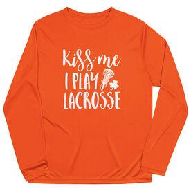 Girls Lacrosse Long Sleeve Performance Tee - Kiss Me I Play Lacrosse