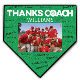Baseball Home Plate Plaque - Thank You Coach Photo Autograph