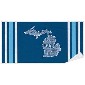Running Premium Beach Towel - Michigan State Runner