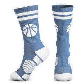 Basketball Woven Mid-Calf Socks - Ball (Carolina Blue/White)