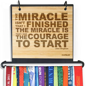 Engraved Bamboo BibFOLIO+™ Race Bib and Medal Display The Miracle