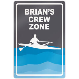 "Crew 18"" X 12"" Aluminum Room Sign Personalized Crew Zone Guy"