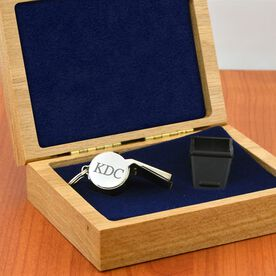 Engravable Silver Coach Whistle In An Oak Case