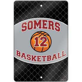"""Basketball Aluminum Room Sign Personalized Basketball Team with Basketball and Number (18"""" X 12"""")"""
