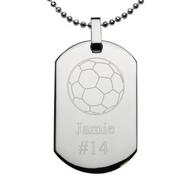 Soccer Engraved Stainless Steel Dog Tag Necklace