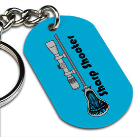 Lacrosse Printed Dog Tag Keychain Sharp Shooter