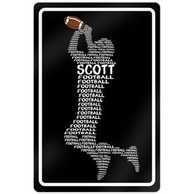 """Football 18"""" X 12"""" Aluminum Room Sign Personalized Football Words"""