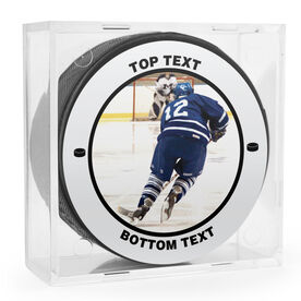 Personalized Your Photo with Text Hockey Puck