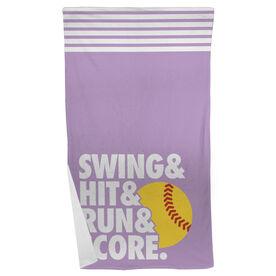 Softball Beach Towel Swing & Hit & Run & Score
