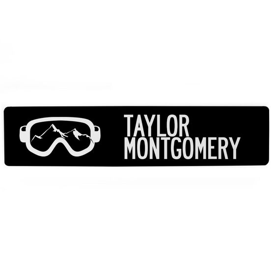 """Skiing Aluminum Room Sign - Goggles Your Name (4""""x18"""")"""