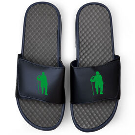 Hockey Navy Slide Sandals - Hockey Standing Silhouette