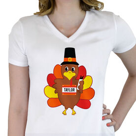 Women's Customized White Short Sleeve Tech Tee Run Now Gobble Later