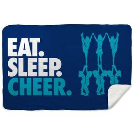 Cheerleading Sherpa Fleece Blanket - Eat. Sleep. Cheer. Horizontal