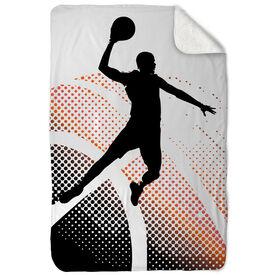 Basketball Sherpa Fleece Blanket Halftone Sunrise