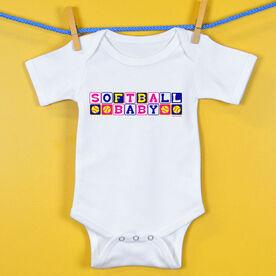 Softball Baby One-Piece Softball Baby Blocks