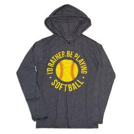 Women's Softball Lightweight Hoodie - Rather Be Playing Softball Distressed