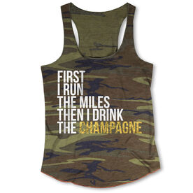 Running Camouflage Racerback Tank Top - Then I Drink The Champagne