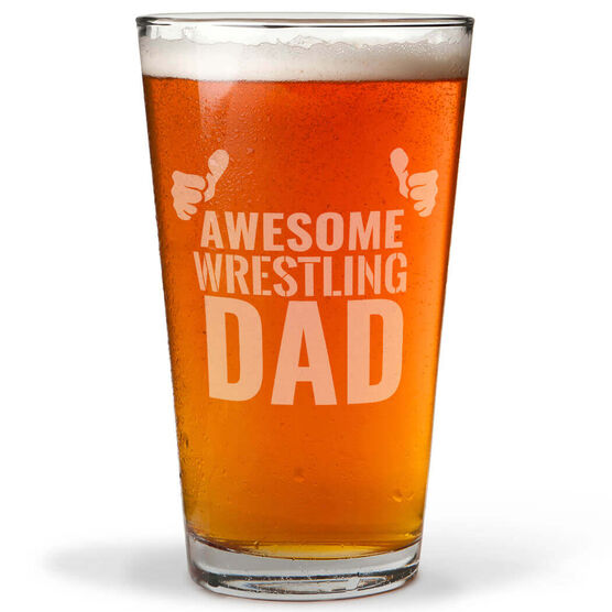 16 oz. Beer Pint Glass Awesome Wrestling Dad
