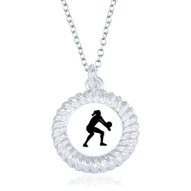 Volleyball Braided Circle Necklace - Female Player Silhouette