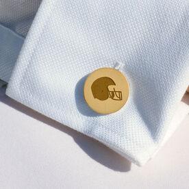 Football Engraved Wood Cufflinks Helmet
