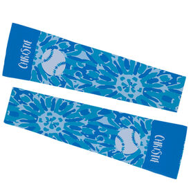 Softball Printed Arm Sleeves - Personalized Tie Dye Floral Pattern with Softball
