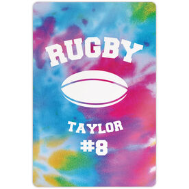 """Rugby 18"""" X 12"""" Aluminum Room Sign - Personalized Tie-Dye Pattern with Rugby Ball"""