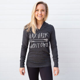 Girls Lacrosse Lightweight Performance Hoodie Lax Hair Don't Care