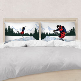 Skiing Pillowcase Set - Halfpipe Skiers