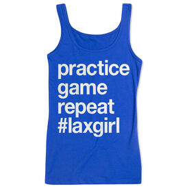 Girls Lacrosse Women's Athletic Tank Top - Practice Game Repeat
