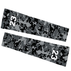 Soccer Printed Arm Sleeves - Soccer Digital Camo with Number