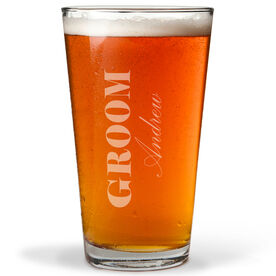Personalized 16 oz. Beer Pint Glass - Groom Classic