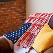 Guys Lacrosse Premium Blanket - USA Stick Flag