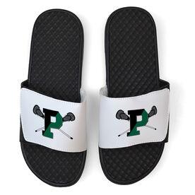 White Slide Sandal - Pentucket Youth Lacrosse Logo