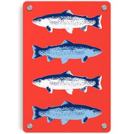 Fly Fishing Metal Wall Art Panel - Fish Outline