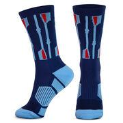 Crew Woven Mid-Calf Socks - Vertical Oars (Navy/Light Blue/Red)