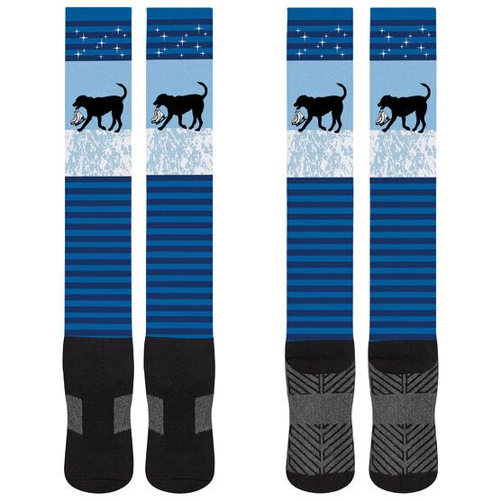 Figure Skating Printed Knee-High Socks - Axel the Figure Skating Dog