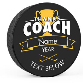 Personalized Thanks Coach with Player Hockey Puck