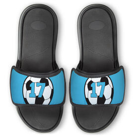 Soccer Repwell™ Slide Sandals - Soccer Ball with Number